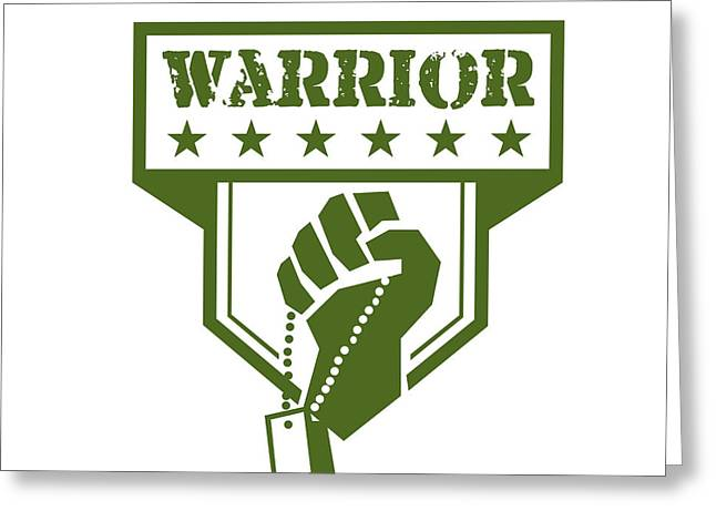 Soldier Hand Clutching Dogtag Warrior Crest Retro Greeting Card