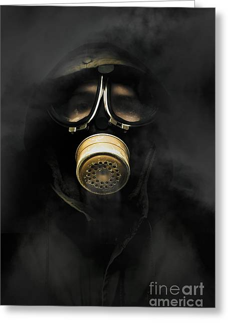 Soldier In Gas Mask Greeting Card by Jorgo Photography - Wall Art Gallery