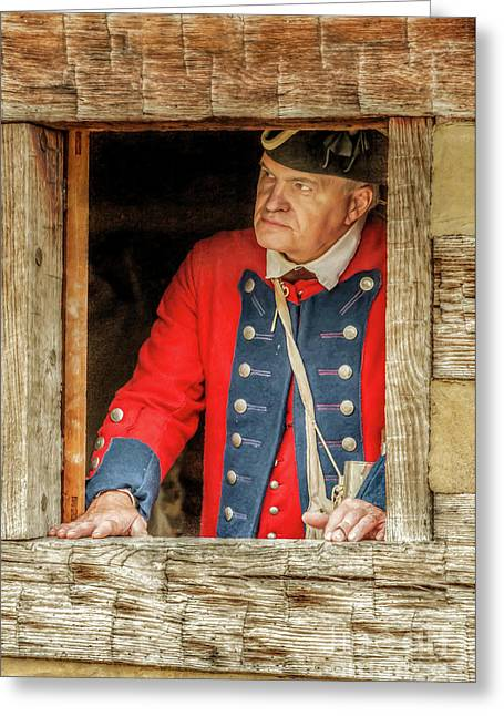 Soldier In The Window Greeting Card by Randy Steele