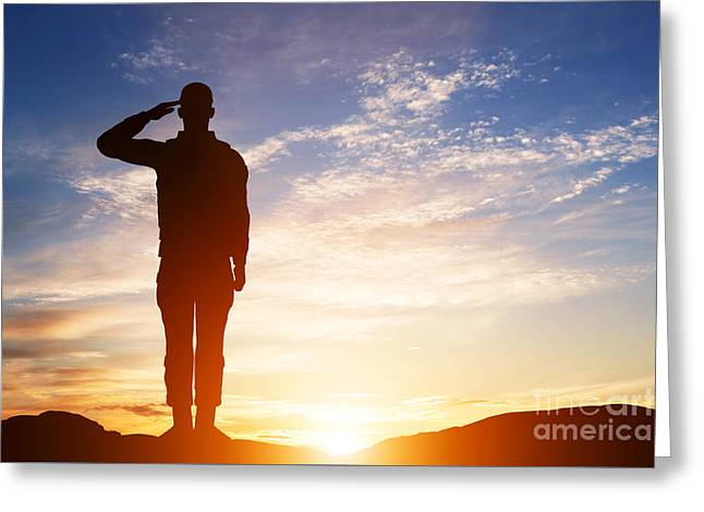 Soldier Salute Greeting Card by Michal Bednarek