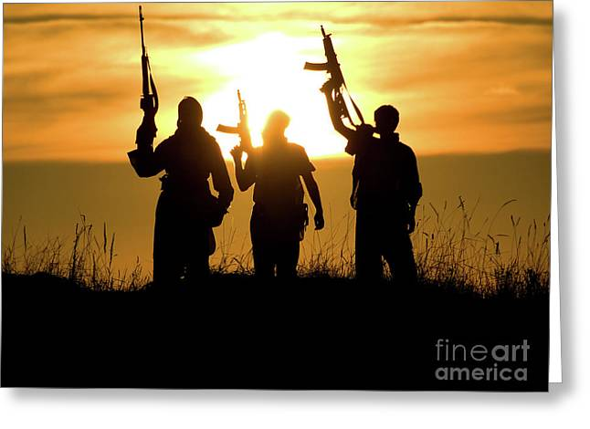 Soldiers Against A Sunset Greeting Card by Oleg Zabielin