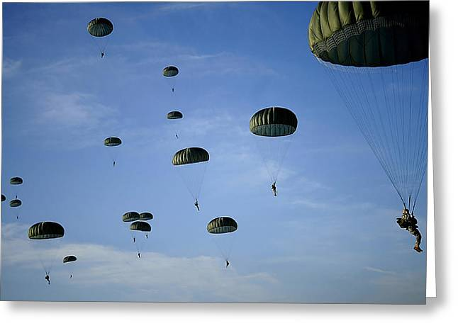 Descend Greeting Cards - Soldiers Descend Under A Parachute Greeting Card by Stocktrek Images