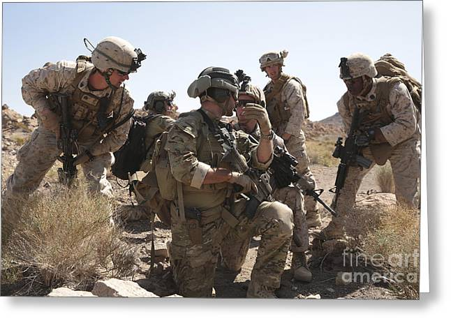 Soldiers Discuss Strategy Greeting Card by Stocktrek Images