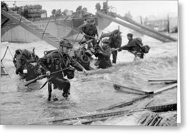 Soldiers Disembarking From Landing Craft At Ouistreham And Bernieres In The St Aubin Sector On 6th J Greeting Card by English School