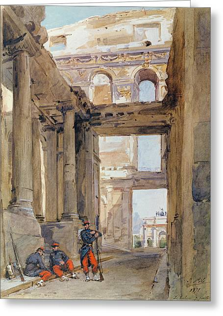 Soldiers In The Ruins Of The Tuileries Greeting Card by Isidore Pils