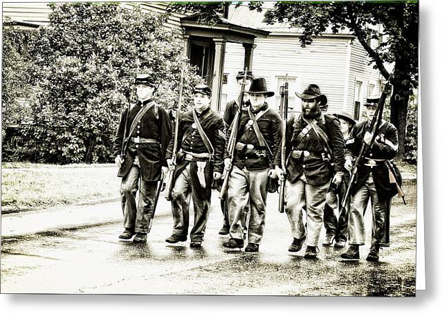 Soldiers Marching In Parade Greeting Card