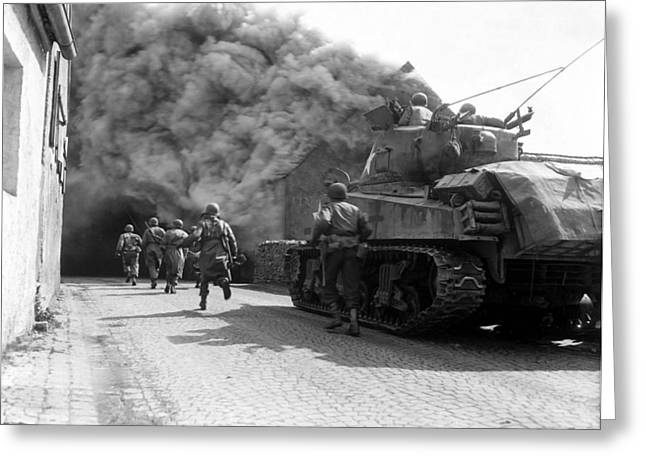 Battle Tanks Greeting Cards - Soldiers Move Through A Smoke Filled Greeting Card by Stocktrek Images