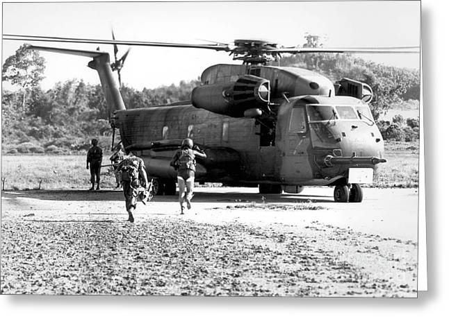 Soldiers Run To A Hh-53c Helicopter Greeting Card by Stocktrek Images