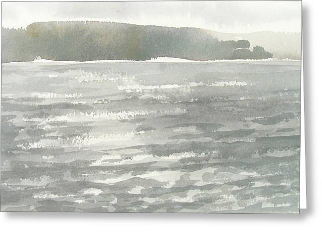 Soldis Over Glittrande Fjord - Sunlit Haze Over Glittering Water_0023 76x48cm Greeting Card