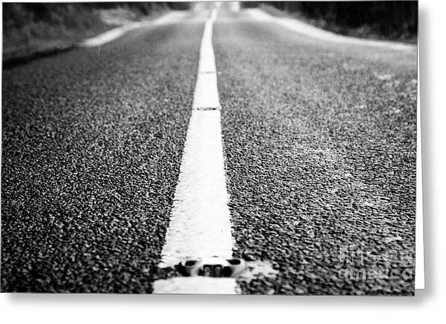 Solid White Paint In The Centre Of A Wet Irish Rural Road In County Sligo Greeting Card
