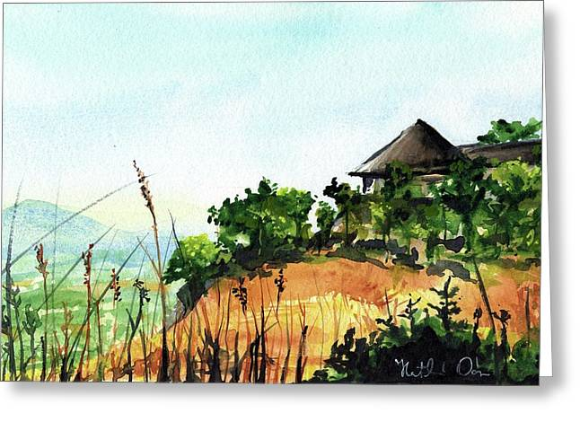 Greeting Card featuring the painting Solitary Cottage In Malawi by Dora Hathazi Mendes