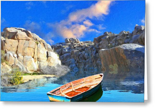 Solitary Skiff Greeting Card