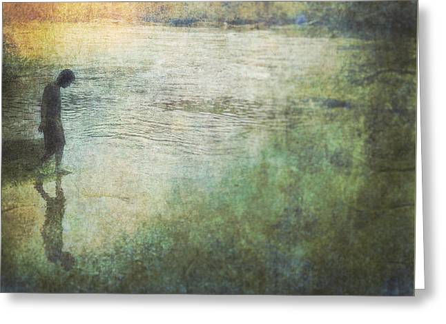 Solitary--walking In Water Greeting Card by Melissa D Johnston