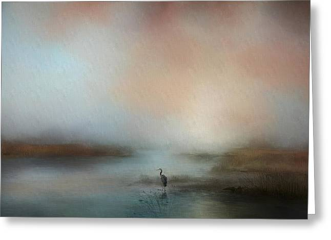 Solitude Blue Heron Landscape Art Greeting Card by Jai Johnson