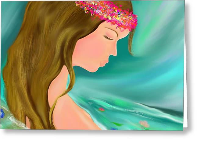 Recently Sold -  - Floating Girl Greeting Cards - Solitude Greeting Card by Lori  Lovetere