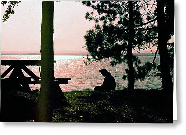 Solitude On A Golden Lake Greeting Card by George Cousins