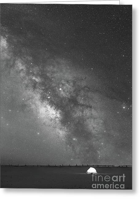 Solitude Under The Galaxy Bw Greeting Card by Michael Ver Sprill