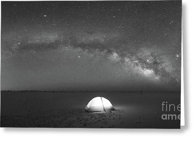 Solitude Under The Stars Pano Bw Greeting Card by Michael Ver Sprill