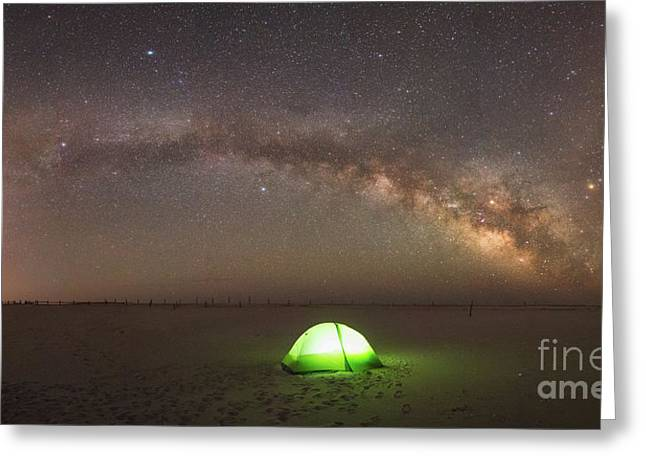 Solitude Under The Stars Panorama Greeting Card by Michael Ver Sprill