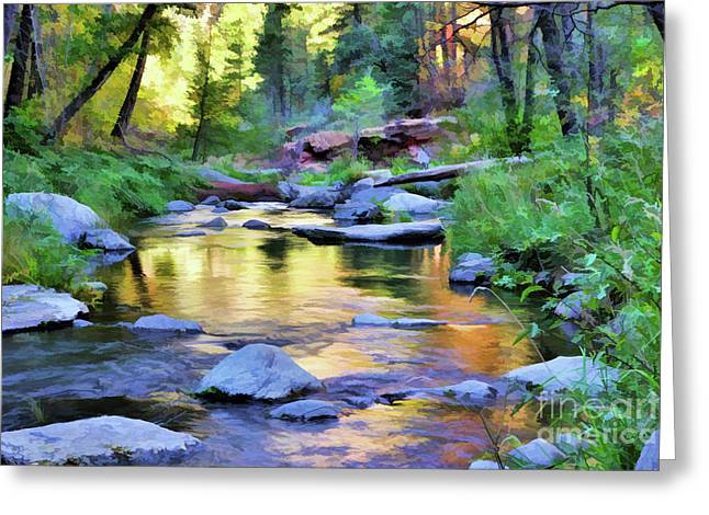 Solitutde At The Creek Greeting Card by Maureen Isree