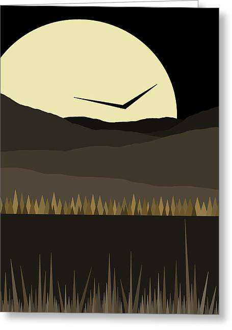 Solo Flight - Black And Gold - Golden Nights Greeting Card
