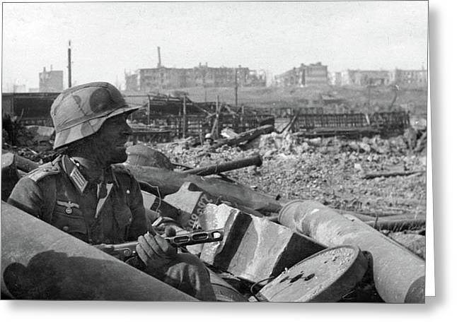 Solo German Soldier Stalingrad 1942 Greeting Card by David Lee Guss