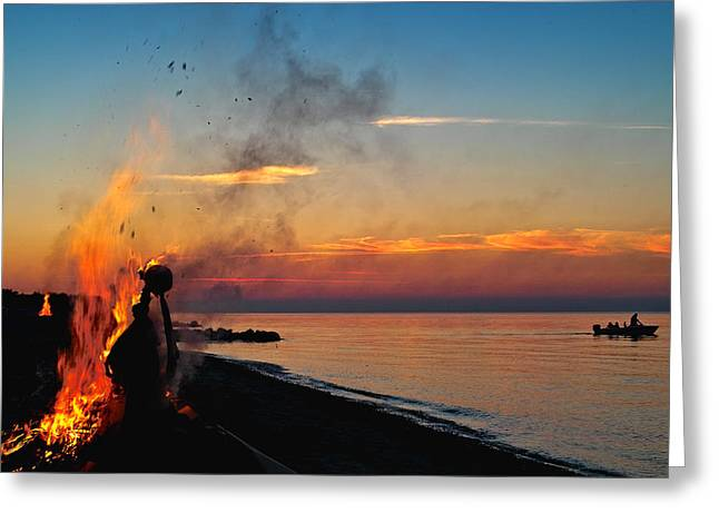 Solstice Bonfire Greeting Card by Robert Lacy