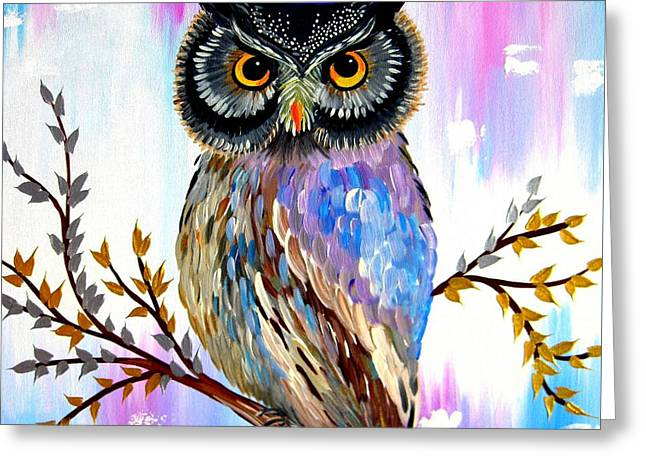Solstice Owl Greeting Card by Cathy Jacobs