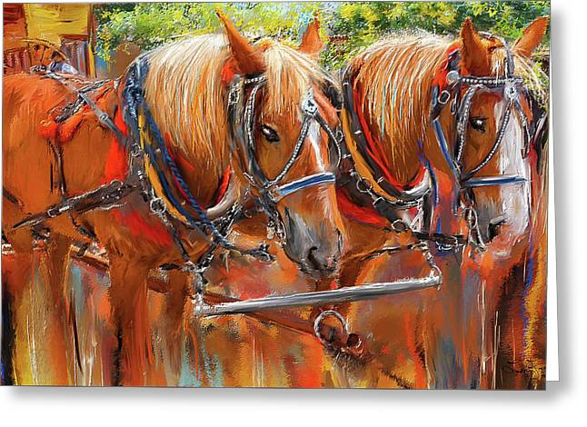 Solvang California Horse Drawn Wagon Art Greeting Card