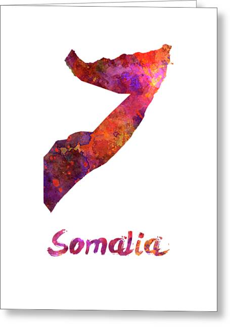Somalia In Watercolor Greeting Card by Pablo Romero