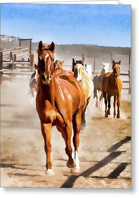 Greeting Card featuring the digital art Sombrero Ranch Horse Drive, Galloping Into The Dusty Corrals by Nadja Rider