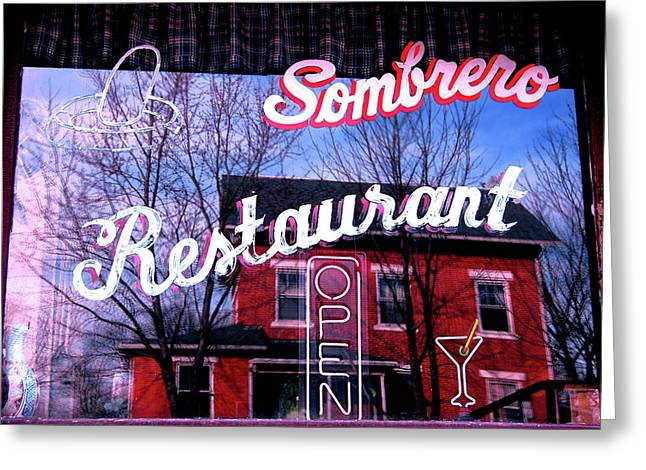 Jame Hayes Greeting Cards - Sombrero Restaurant Greeting Card by Jame Hayes