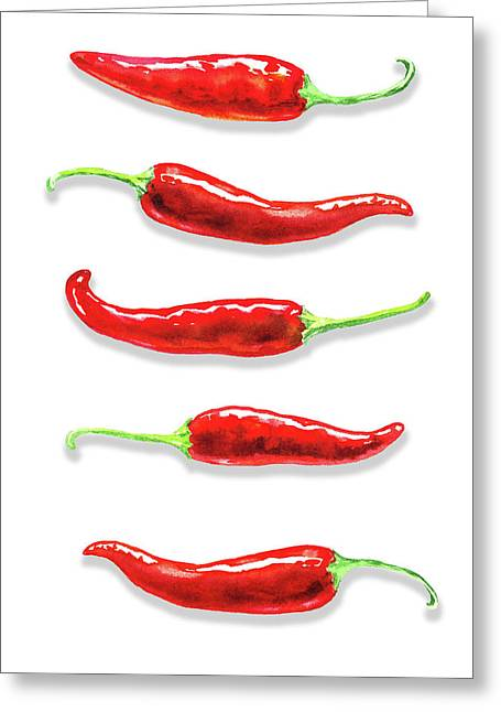 Greeting Card featuring the painting Some Likes It Hot Red Chili  by Irina Sztukowski