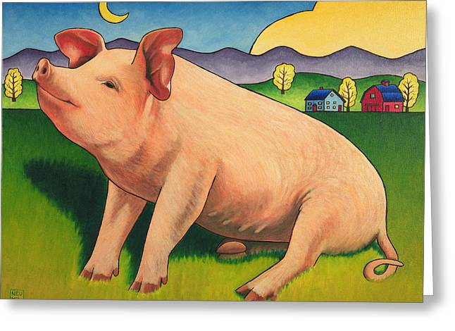 Some Pig Greeting Card by Stacey Neumiller