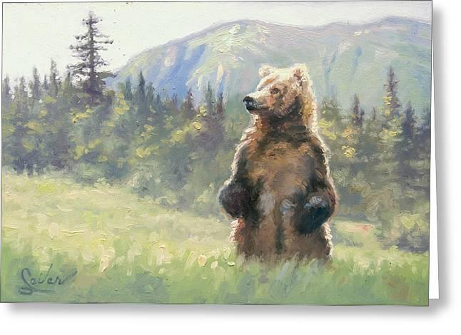 Something In The Air- Alaskan Brown Bear Greeting Card by Larry Seiler