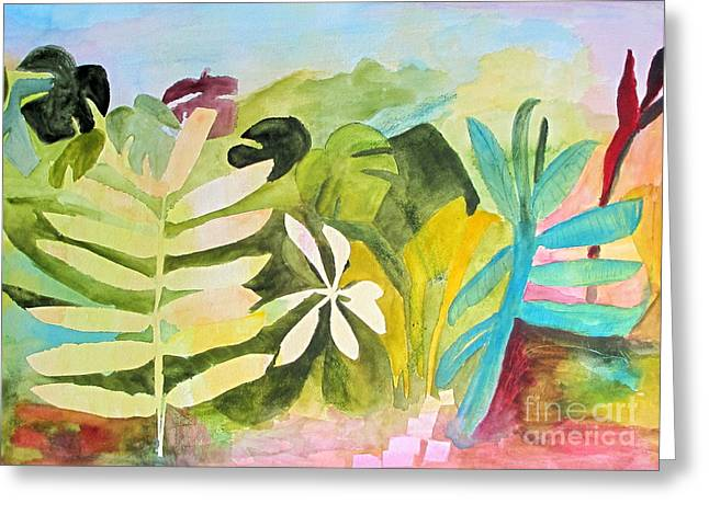 Greeting Card featuring the painting Sometimes I Miss The Tropics by Sandy McIntire