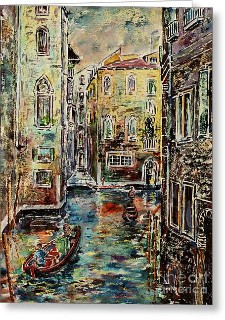 Somewhere In Venice Greeting Card by Alfred Motzer