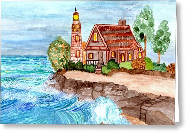 Somewhere On The Edge Greeting Card by Connie Valasco