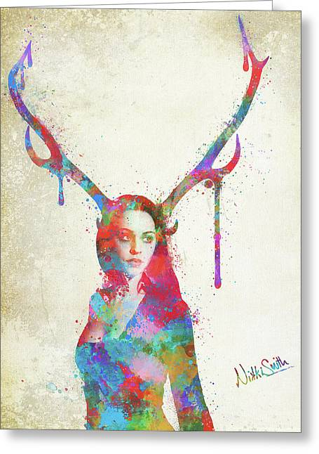 Greeting Card featuring the digital art Song Of Elen Of The Ways Antlered Goddess by Nikki Marie Smith