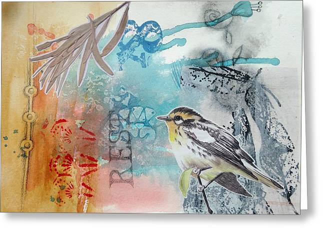Greeting Card featuring the mixed media Song Of Life  by Rose Legge
