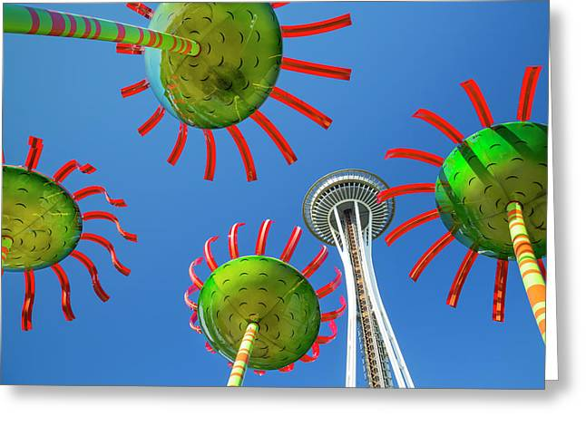 Sonic Bloom In Seattle Center Greeting Card by Adam Romanowicz