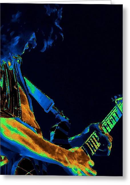 Sonic Guitar Explosions Art 1 Greeting Card by Ben Upham