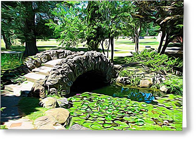 Sonnenberg Gardens Japanese Garden Bridge And Waterlily Pond Expressionist Effect Greeting Card