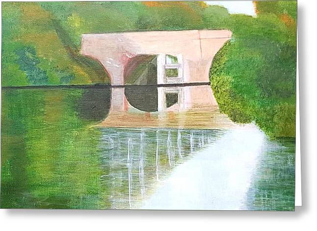 Sonning Bridge In Autumn Greeting Card