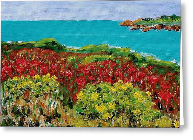 Sonoma Coast With Wildflowers Greeting Card