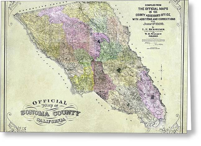 Sonoma County Map 1900 Greeting Card by Jon Neidert