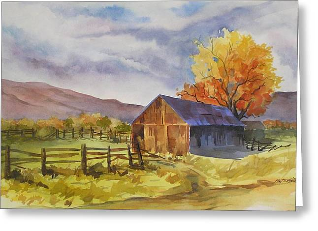 Greeting Card featuring the painting Sonora Barn by Pat Crowther