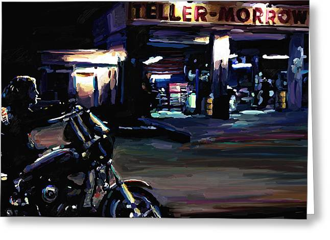 Leon Jimenez Greeting Cards - Sons of Anarchy Jax Teller Signed Prints available at laartwork.com Coupon Code KODAK Greeting Card by Leon Jimenez