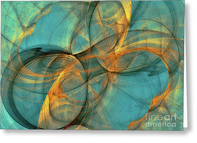 Greeting Card featuring the digital art Soothing Blue by Deborah Benoit