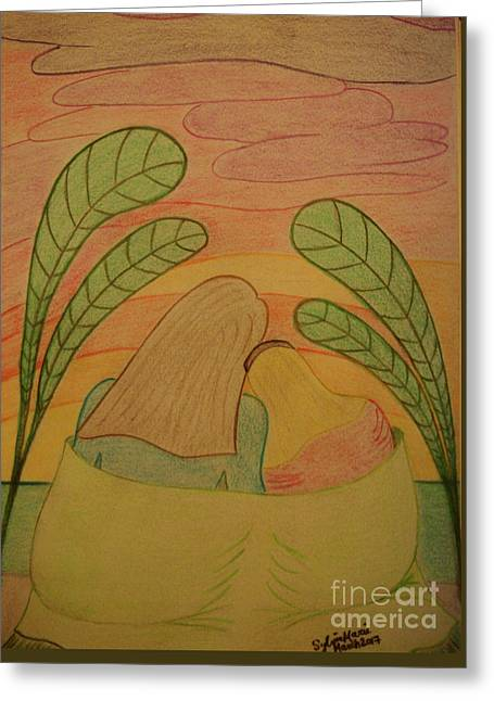 Soothing Sunset - Mother And Daughter Bask In The Moment Leaning Heads Together-drawing Greeting Card by Sylvie Marie